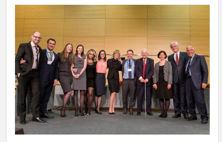 From left to right: Aaron King, James Plotkin, Natalie Kolos, Chloe Waind, Dora Konomi, Emily Bradley, Emily McMurtry, Prof. Anthony Daimsis, Eric Bergsten (moot founder), the final bench: Professor Yeşim M. Atamer (Turkey; Professor at Istanbul Bilgi University and also a member of the CISG Advisory Council), Carlos S Forbes, (Brazil; President of CAM-CCBC),  and the Rt Hon. Lord Phillips of Worth Matravers (UK; former Senior Law Lord and former President of the UK Supreme Court).